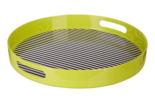 Premier Housewares Mimo Stripe Tray with Handles, Melamine, Multi-Colour, 38 x 38 x 5 cm from Premier Housewares