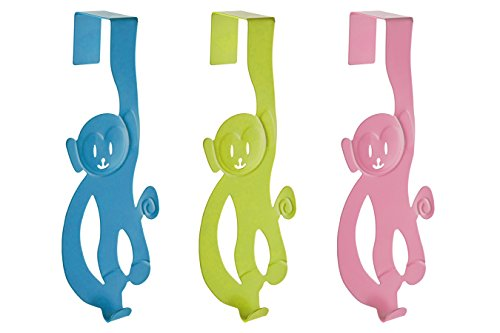 Premier Housewares Monkey Over Door Hanger, 3-Pieces - Blue/Lime Green/Hot Pink from Premier Housewares