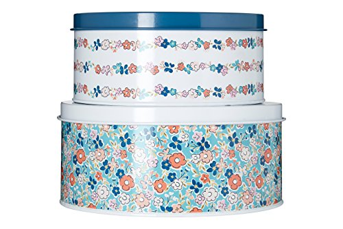 Premier Housewares Cake Tins Set Of 2 Baking Tins Multi- Colored Flowers Cake Baking Tins Pie Tin Cheesecake Tin Galvanised Steel Small Cake Tins from Premier Housewares