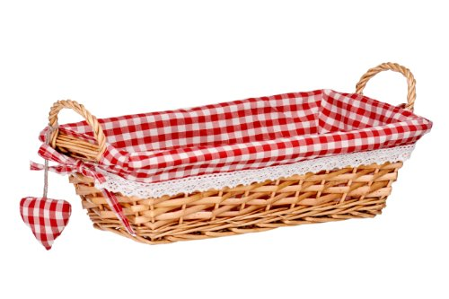 Premier Housewares Rectangle Willow Basket with Gingham Lining - Red from Premier Housewares