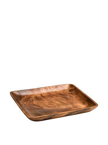 Premier Housewares Wooden Tray Serving Trays Snack Tray Acaica Wood Serving Dish Hand Carved Serving Platters Wooden Trays For Serving 4 x 35 x 35 cm from Premier Housewares