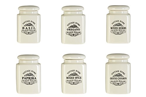 Premier Housewares Vintage Home Spice Jars - Cream, Set of 6 from Premier Housewares