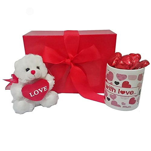 Mother's Day Gift Set with Mug and Red Teddy Bear and Heart Chocolates in Scarlet Gift Box from Premier Life Store