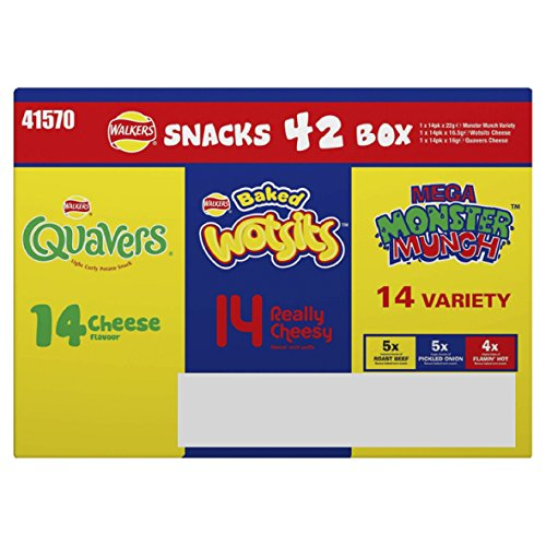 Walkers Snacks Box, 5 Varieties - Pack of 42 from Walkers