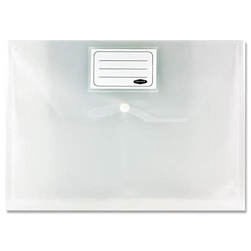 Premier My A4 Button Stud Clear Plastic Envelope Document Wallet Files 25pk from Premier Stationery