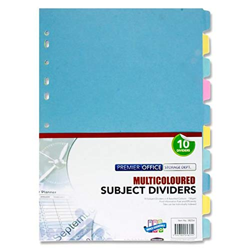 Premier Stationery 170 GSM Subject Divider with 10 Part from Premier Stationery