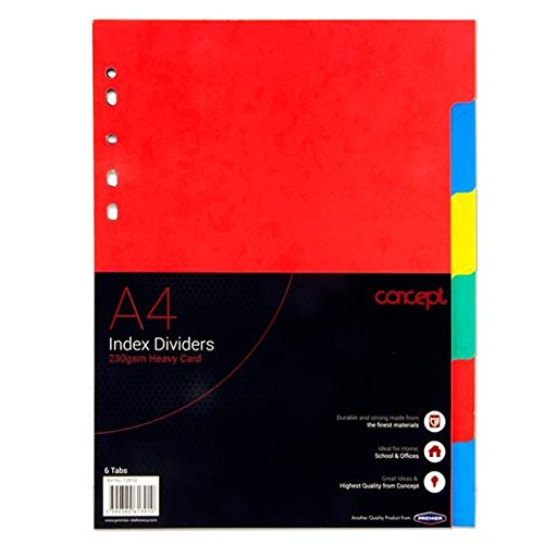 Premier Stationery A2813910 230 GSM Concept Extra Strong Index Subject Dividers from Premier Stationery