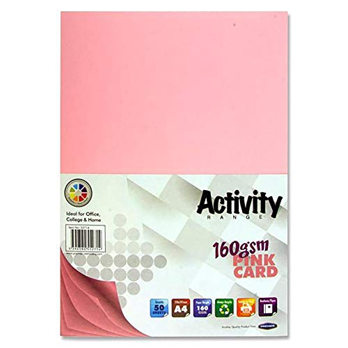 Premier Stationery S4552714 A4 160 gsm Activity Card - Pink (Pack of 50 Sheets) from Premier Stationery