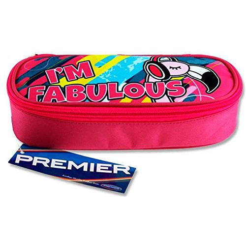 Premier Stationery C5615600 I'm Fabulous Flamingo Design Campus Oval Zip Pencil Case from Premier Stationery
