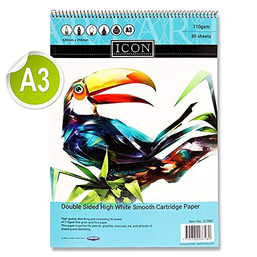 Premier Stationery Icon 110gsm A3 30 Sheets Spiral Sketch Pad from Premier Stationery