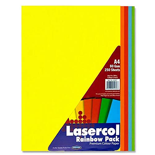 Premier Stationery Lasercol A4 80 GSM Rainbow Paper (Pack of 250 Sheets) from Premier Stationery
