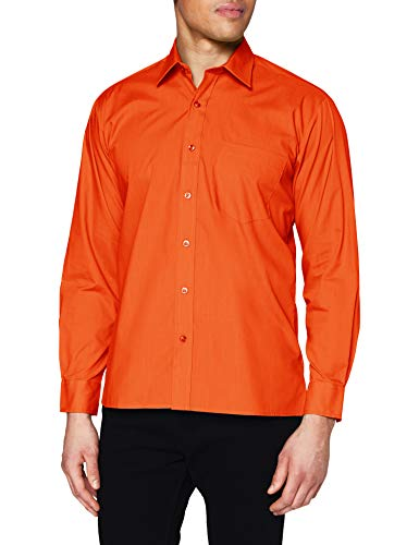 "Premier Workwear Mens Long Sleeve Poplin Shirt Orange   Size - 17""(43cm) from Premier Workwear"