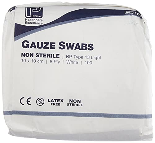 Premier 1660 Cotton Gauze Swabs 8 Ply 10 cm x 10 cm White Paper Packs (Pack of 100) from Premier