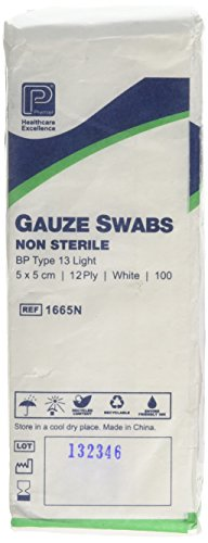 Premier 1665 Cotton Gauze Swabs 12 Ply 5 cm x 5 cm White Paperpacks (Pack of 100) from Premier