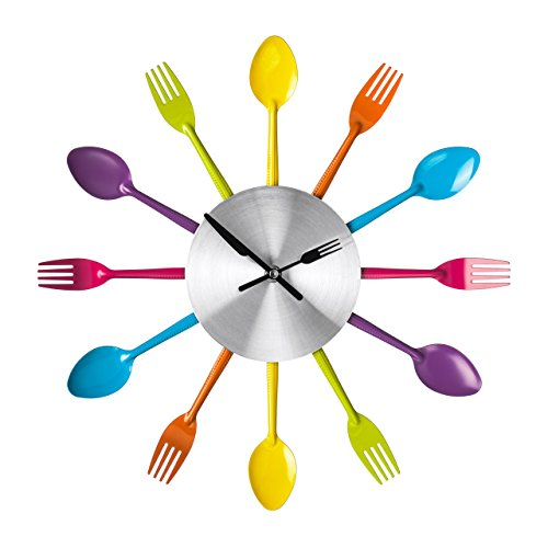 Premier Housewares Cutlery Wall Clock, Metal, Multi-Colour, 5 x 37 x 37 cm from Premier Housewares