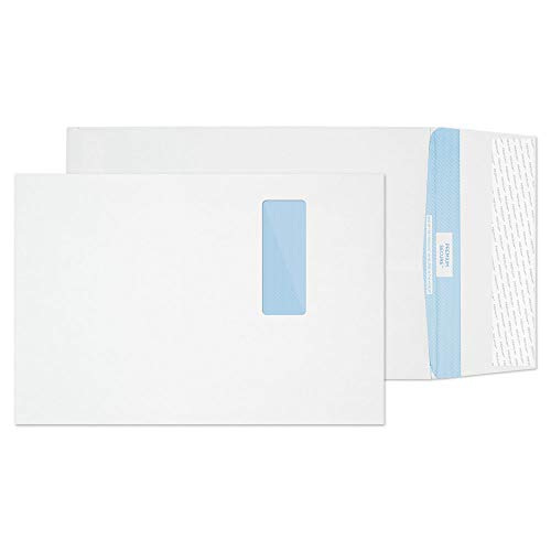 Blake Premium Secure C4 324 x 229 x 25 mm 125 gsm Tear Resistant Gusset Pocket Peel & Seal Window Envelopes (TR9901) White - Pack of 100 from Blake