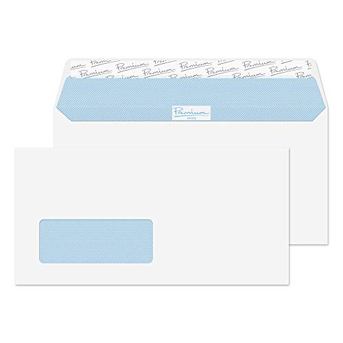 Blake Premium Office DL+ 114 x 229 mm 120 gsm Peel & Seal Wallet Standard Window Envelopes (33216) Ultra White Wove - Pack of 500 from Blake