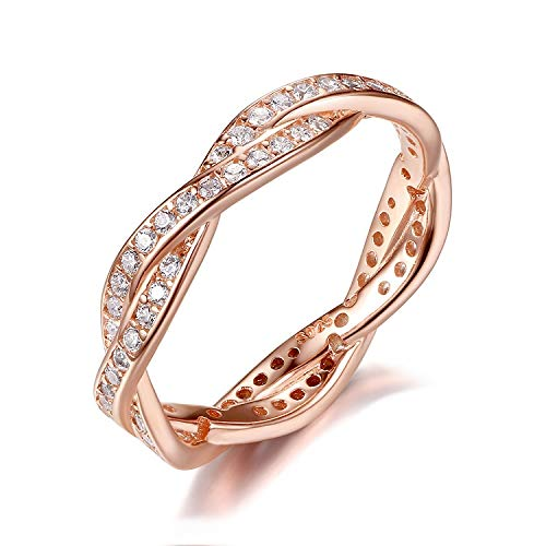Presentski 925 Sterling Silver Promise Ring with CZ, Rose Gold Plated, Size O from Presentski