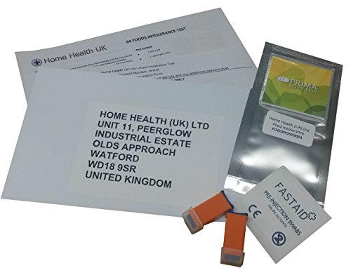 Food Intolerance/Allergy home test kit - 64 foods tested includes all Lab fees - nothing more to pay. from Prima/Home Health (UK) Ltd