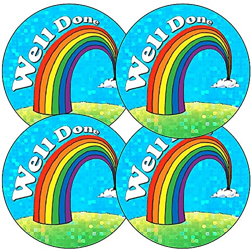 Holographic Rainbow Well Done School Reward Stickers 37 Millimetres x 105 - Primary Teaching Services from Primary Teaching Services Ltd