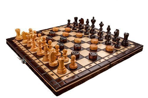Prime Chess Hand Crafted Cherry Wooden Chess and Draughts Set 35 x 35 Centimeter from Prime Chess