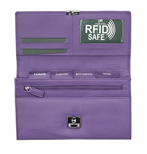 Prime Hide Luxury Soft Leather RFID SAFE Travel Planner Wallet Travel Purse - Purple from Prime Hide