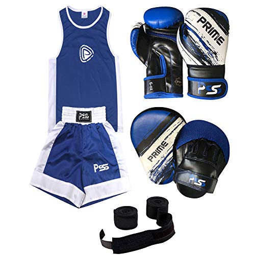 Prime Leather PRIME KIDS BOXING SET UNIFORM BLUE TOP/SHORT 3-14 YEARS + FOCUS PAD 1106 BLUE KIDS BOXING GLOVES 1012 BLUE 6-OZ (Focus Pad 1106, Uniform 9-10 Years) SET-14 from Prime Leather