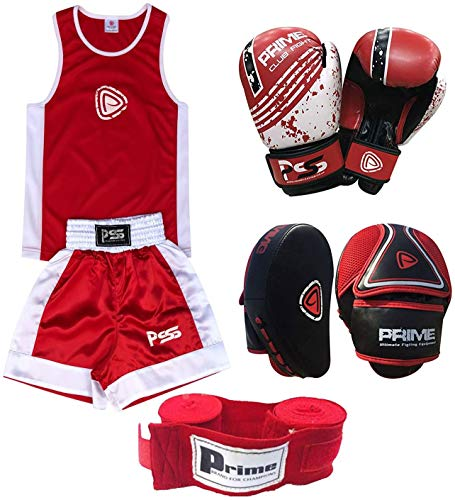 PRIME KIDS BOXING SET UNIFORM TOP/SHORT 3-14 YEARS + FOCUS PAD 1103 KIDS BOXING GLOVES 1004 4-OZ (Focus pad 1103, Uniform 5-6 years) SET-21 from Prime Leather