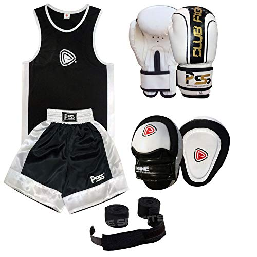 PRIME KIDS BOXING SET UNIFORM TOP/SHORT 3-14 YEARS + FOCUS PAD 1104 KIDS BOXING GLOVES 1006 6-OZ (Focus Pad 1104, Uniform 5-6 Years) SET-19 from Prime Leather