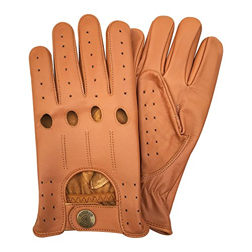 Men/'s Orange Driving Gloves Real Leather Top Quality Soft Leather