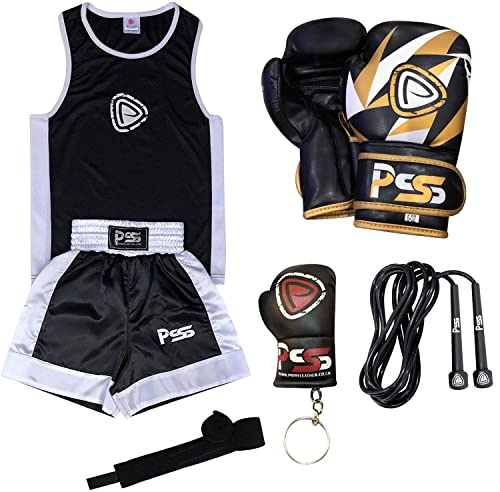 KIDS BOXING UNIFORM 2 PICES SET (TOP & SHORT) BLACK-WHITE 9-10 YEARS OLD KIDS + BOXING GLOVES BLACK WHITE 6-OZ (1001) from Prime Sports