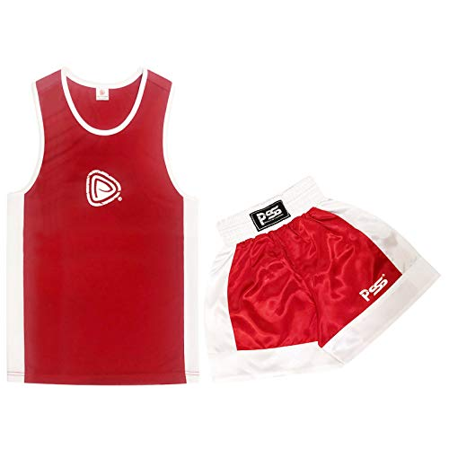 KIDS BOXING UNIFORM 2 PICES SET (TOP & SHORT) RED, 05 TILL 06 YEAR OLD KIDS from Prime Sports