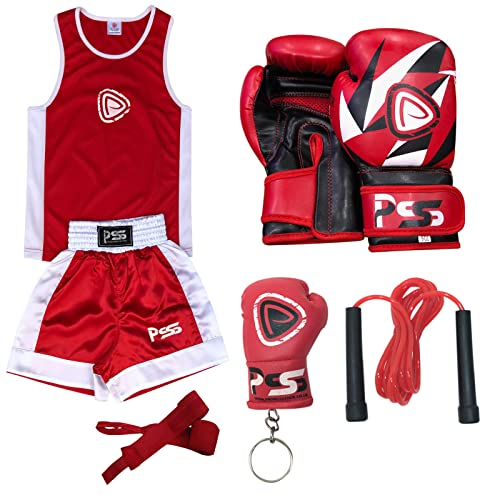 Prime Sports KIDS BOXING UNIFORM 2 PIECES SET (TOP & SHORT) RED-WHITE KIDS BOXING GLOVES RED-WHITE 6-OZ (1008) (5-6 Years) from Prime Sports