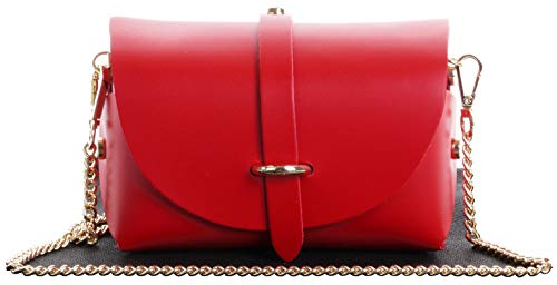 Italian Leather Mini Small Micro Red Shoulder Crossbody Evening Bag With Metal Chain Strap. Includes Branded Protective Dustbag from Primo Sacchi