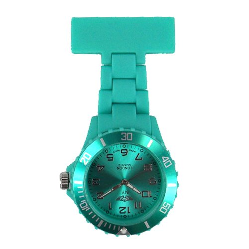 Prince London NY New York rubberised plastic nurses fob watch with pin - Turquoise from Prince Watches
