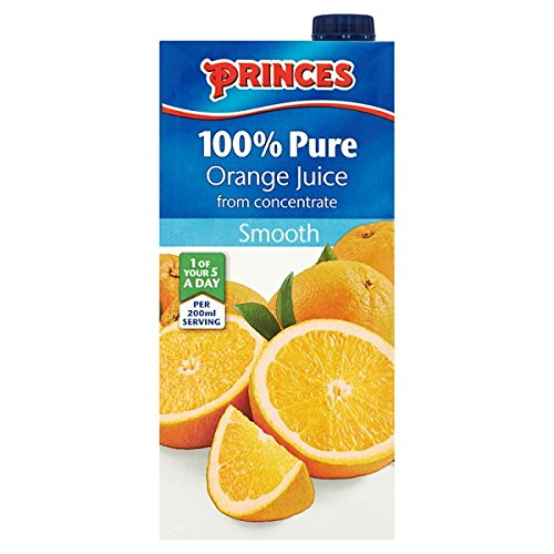 Princes 100% Pure Orange Juice from Concentrate Smooth 1 Litre (Pack of 12 x 1ltr) from Princes