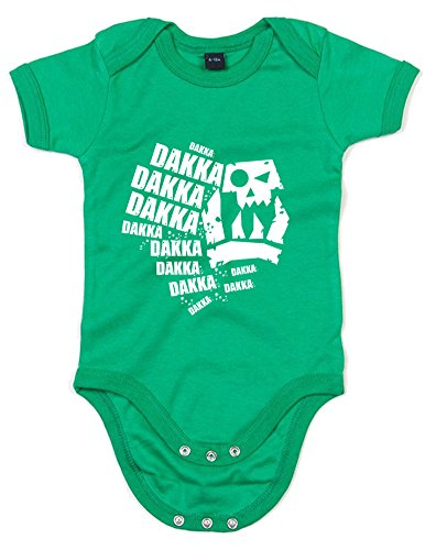 Dakka Dakka Dakka, Printed Baby Grow - Kelly Green/White 3-6 Months from Print Wear Clothing