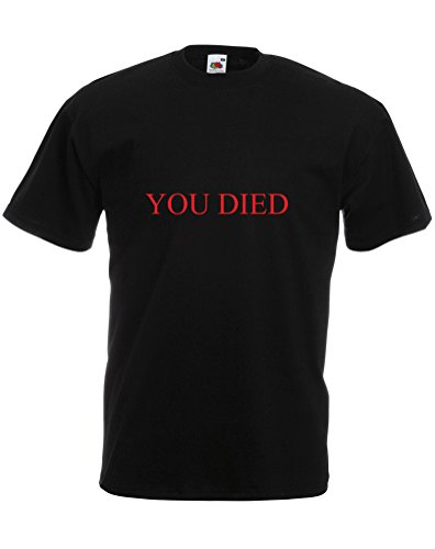 You Died, Mens Printed T-Shirt - Black/Red L from Print Wear Clothing