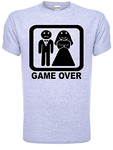 Game Over Funny Wedding/Stag Do Mens T-Shirt Unisex Large Grey BLACK TEXT from Print4U