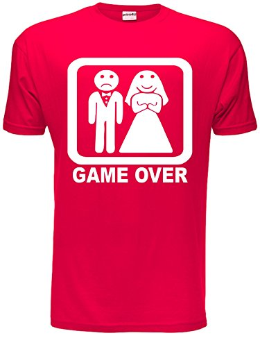 Game Over Funny Wedding/Stag Do Mens T-Shirt Unisex X-Large Red from Print4U