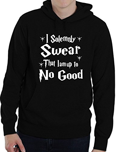 I Do Solemnly Swear I Am Up to No Good Funny Unisex Hoodie Large Black from Print4U