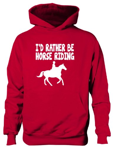 I'd Rather Be Horse Riding Boys Girls Kids Hoodie Birthday Gift 7-8 Red from Print4U
