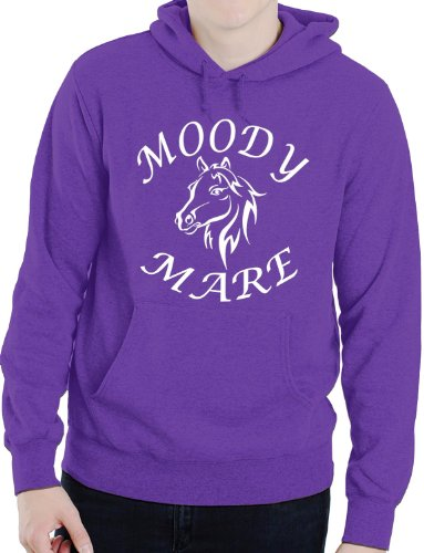 Moody Mare / Horse Riding/Horses Funny Ladies Hoodie X-Large Purple from Print4U