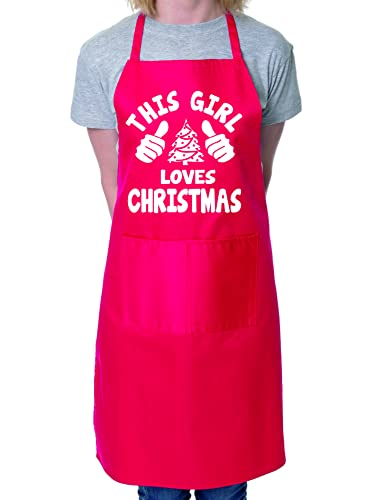 This Girl Loves Christmas Santa Xmas BBQ Cooking Novelty Apron Red from Print4U