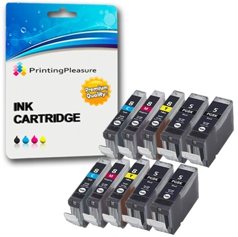10 (2 SETS + 2 BLACK) Compatible Printer Ink Cartridges for Canon Pixma iP3300, iP3500, iX3300, iX3500, iX4000, iX5000, MP510, MP520, MP520X, MX700 | PGI-5BK, CLI-8C, CLI-8M, CLI-8Y from Printing Pleasure