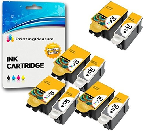 8 XL (4 SETS) Compatible Kodak 30XL (30B & 30CL) Ink Cartridges for Kodak Hero 2.2 3.1 4.2 5.1 ESP 1.2 3.2 C100 C110 C115 C300 C310 C315 C330 C360 Office 2100 2150 2170 - Black/Colour, High Capacity from Printing Pleasure