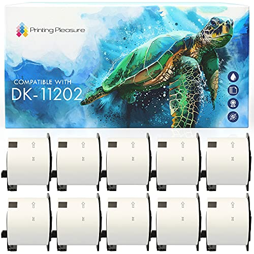 Printing Pleasure 10x DK-11202 62mm x 100mm White Standard Address Labels (300 Labels per Roll) compatible with Brother P-Touch QL-500 550 570 700 710W 720NW 800 810W 820NWB 1050 1100 1110NWB Printers from Printing Pleasure