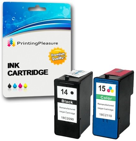 SET of 2 Remanufactured Printer Ink Cartridges for Lexmark Z2300, Z2310, Z2320, X2600, X2630, X2650, X2670 | Replacement for Lexmark 14 & 15 from Printing Pleasure