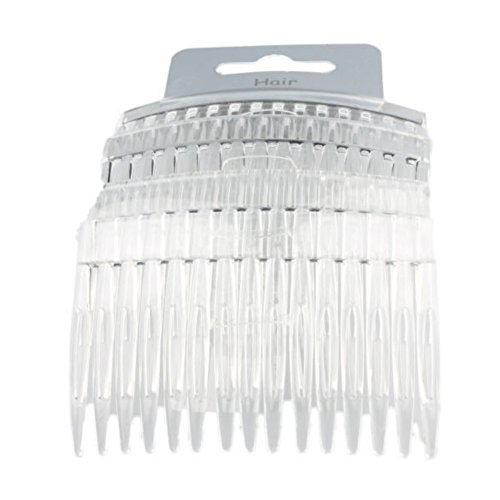 "Set of 4 Clear Plain Hair Combs Slides 7cm (2.8"") from Pritties Accessories"
