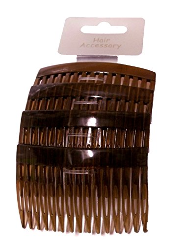 "Set of 4 Tort Plain Hair Combs Slides 7cm (2.8"") from Pritties Accessories"